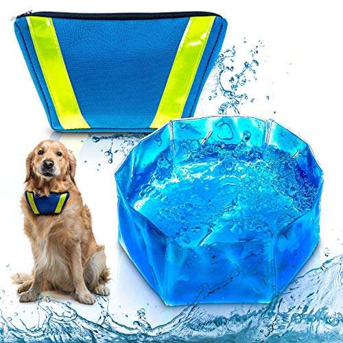 TE WAI FreeZone Dog Pet Water Bowl Freeze Cool & Frosty Summer Foldable Portable Bowl for Outdoor Activities Dog Gift