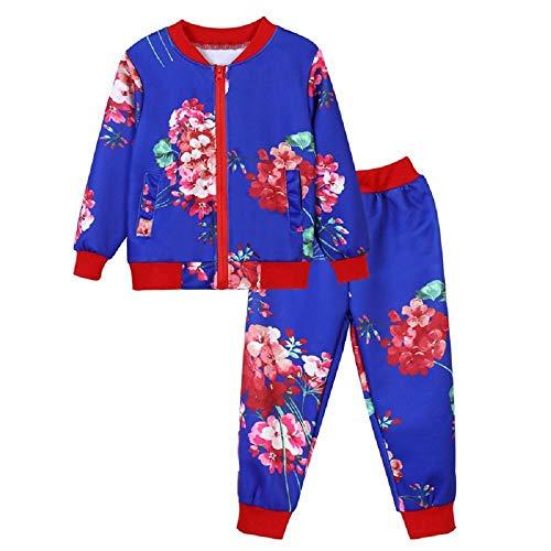 Zarupeng Zarupeng Kinder Baby Mädchen Jungen Kleidung Set Langarm Blumendruck Mantel Sweatshirt mit Reißverschluss Oberteile + Hosen Zweiteiligen Anzug
