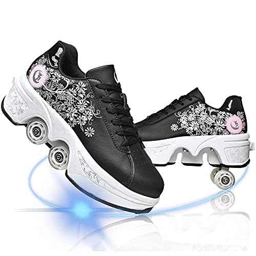 HealHeaters Zapatos con Ruedas Zapatillas con 4 Ruedas Niños Y Niña Deformación Zapatillascon Ruedas Se Puede con Ruedas Automática Calzado Skateboarding