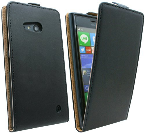 ENERGMiX Klapptasche Schutztasche kompatibel mit Nokia Lumia 730 in Schwarz Tasche Hülle
