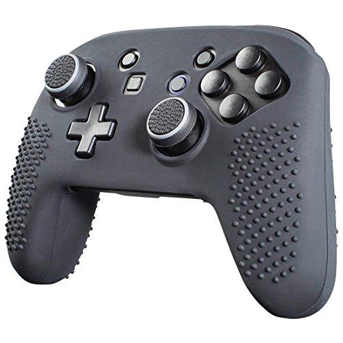 Hama 7in1 Zubehör Set für Nintendo Switch Pro Controller (Silikon Schutz-Hülle fürs Gehäuse, Control-Stick Aufsätze u. Trigger Caps für mehr Grip) Controller Skin/Case, Anti-Rutsch Kappen schwarz