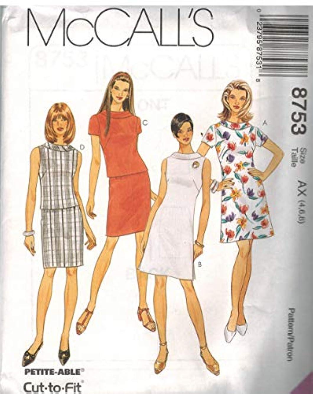 8753 McCalls Sewing Pattern Uncut Misses Top Skirt Dress Size 10 12 14