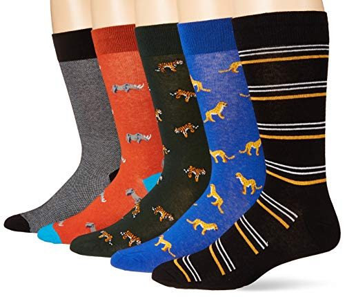 Goodthreads 5-Pack Patterned Socks Casual, Paquete para gatos y rinocerontes, Talla única, Pack de 5