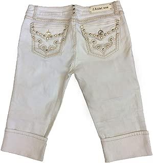 LA Idol Women Plus Size Capri Jeans Tribal Crystal Bold Stitching Stretch in White Wash
