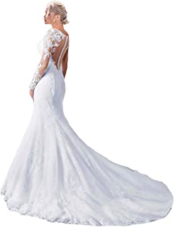 Fashionbride Women's See Through Back Long Sleeve Mermaid Wedding Dress 2019 Bridal Gowns