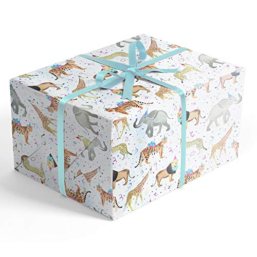 Safari Party Folded Wrapping Paper, 2 feet x 10 feet Folded Birthday Gift wrap with Elephants, Lions, Cheetahs, Giraffes and Tigers