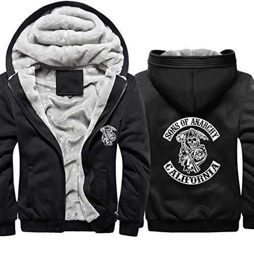 Luanda* Verdicken Sie Den Pullover, Halten Sie Die Lose Kapuzenjacke Warm, SONS of Anarchy Series Plus Fleece-Sweatshirt, üBergroßEr Pullover/A / 2XL
