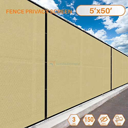 TANG Sunshades Depot 5' x 50' FT Beige Tan Privacy Fence Screen Temporary Fence Screen 150 GSM Heavy Duty Windscreen Fence Netting Fence Cover 88% Privacy Blockage Excellent Airflow 3 Years Warranty