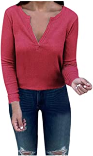 Kansopa Women's T-Shirt Knit Tunic Tops Slim Long Sleeve V Neck Henley Solid Shirts Blouses