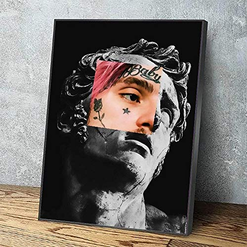IGNIUBI HD Print Modular Picture Black White Lil Peep Canvas Painting Pink Hair Poster For Living Room Home Decor Wall Art 50X70cm 20x28 inch No Frame