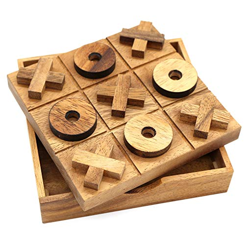 Noughts and Crosses Tic Tac Toe Wooden Clasic Board Games Living Room...