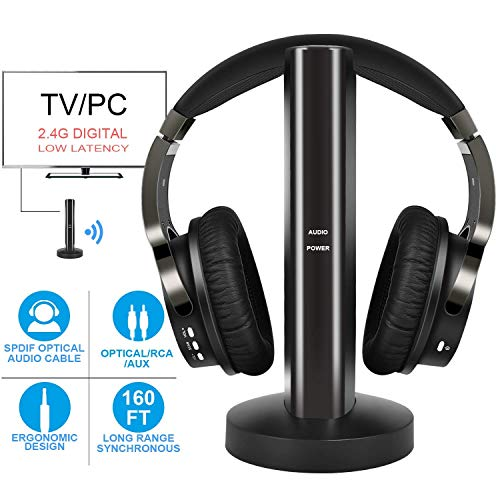 Auriculares Inalambrico TV con 2.4GHz Transmisor y Port Optico, Auricular De Diadema...