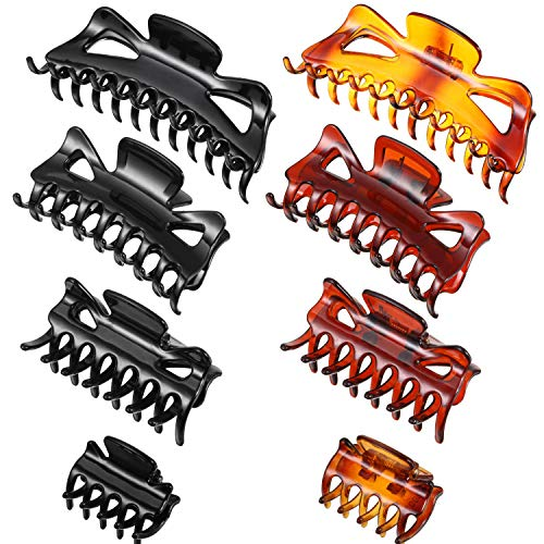 8 Pieces Plastic Hair Claw Clips 4 Sizes Strong Holding Jumbo Jaw...