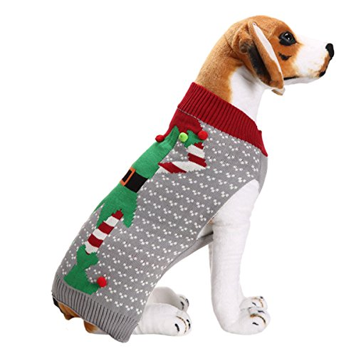 UHeng Pet Dog Sweater Vintage Clothes Pompon Holiday Christmas Costume