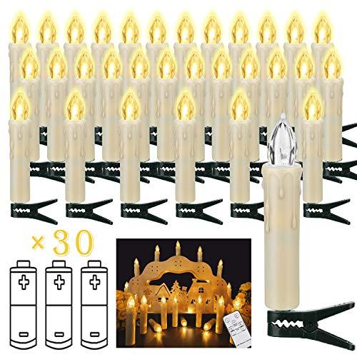 30er Weinachten LED Kerzen Kabellose Weihnachtsbeleuchtung Flammenlose Lichterkette Kerzen Weihnachtskerzen für Weihnachtsbaum, Weihnachtsdeko, Hochzeitsdeko, Party, Wasserdicht (Enthält 32 Batterien)