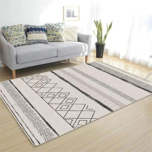 La alfombras alfonbras Infantil Antideslizante Alfombra de diseño geométrico Gris Negro Fácil de Limpiar Antideslizante baño Alfombra Dormitorio Juvenil 60*160CM
