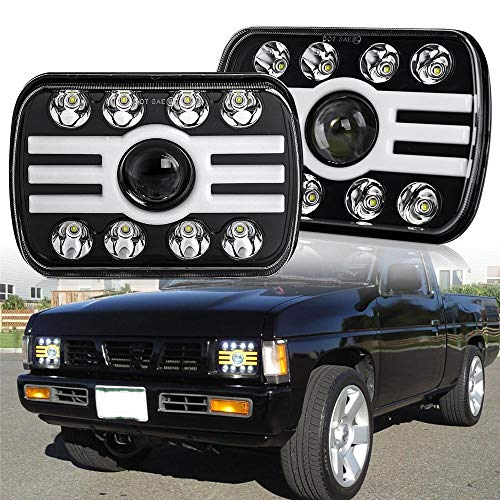 7x6 led headlights 2 Color Angle Eyes 3500K/6000K 5x7 Square headlamp with Sealed Beam Hi/Lo Beam for YJ XJ H6054 H5054 H6054LL 6052 6053(T002H-pair)