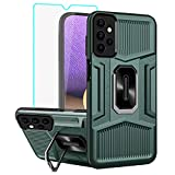 Samsung Galaxy A32 5G Case, Samsung A32 5G Cases with [1 Pack] HD Screen Protector, Yiakeng Military-Grade Shockproof Kickstand Protective Cover for Samsung Galaxy A32 5G(Dark Green)