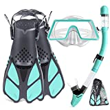 Snorkel Set Adult,Snorkeling Set with Panoramic Snorkel Mask Diving Goggles,Dry Top Snorkel and Adjustable Fins,Scuba Diving Snorkeling Mask for Men Women