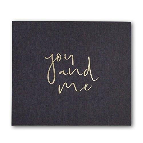 JO & JUDY Fotoalbum You & Me mit Ringbindung - Hardcover Hochzeitsalbum mit 64 weißen Blanko-Seiten - Graues Gewebe mit goldener Prägung - 27 x 25 cm