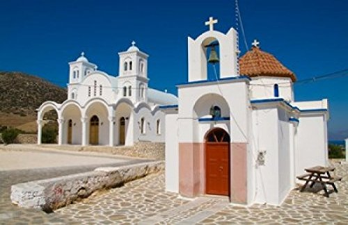Posterazzi Church in Small Town of Dryos Paros Greece Poster Print by Bill Bachmann, (34 x 22)