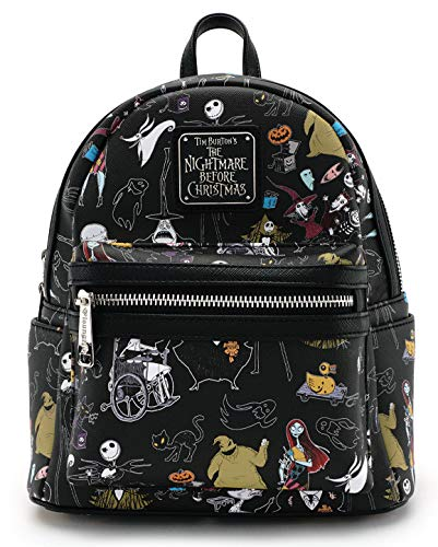 Loungefly Disney Nightmare Before Christmas All Over Print Womens Double Strap Shoulder Bag Purse