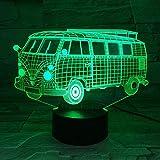 Luz de noche LED 3D bus luz fantasma 3D 7 color táctil dormitorio mesita de noche regalo para niños luz de cumpleaños