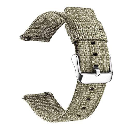 Correa De Reloj Reloj de Banda de Nylon Wrist Sport Loop Watch20 18 22 24mm 493 (Band Color : Light Green, Band Width : 22mm)