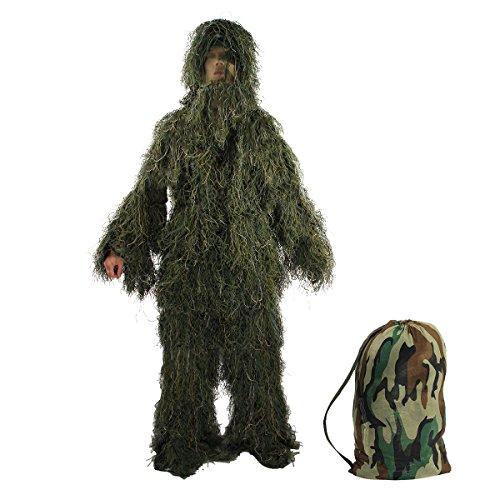 Latinaric tuta da caccia abbigliamento mimetico, include giacca, pantaloni, cappuccio, copertura per fucile e borsa con chiusura a cordoncino, per softair e scherzi di halloween, Woodland Camouflage