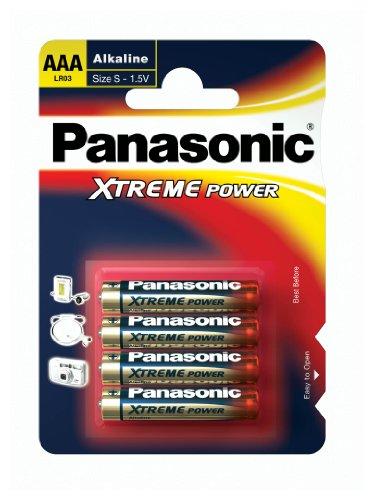 Panasonic LR03 Batterien Alkaline Xtreme Power, Größe AAA, Packung mit 4 Stück