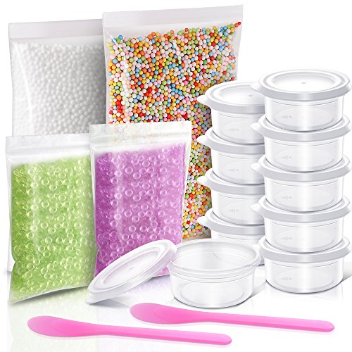 Teenitor Crunchy Slime Making kit with 2 Pack Fishbowl Slime Beads Purple/Green, 2 Pack Foam Balls for Slime, 10 Pieces Slime Storage Containers for 20g Slime, 2 Pieces Slime Mixing Spoons