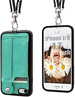 TOOVREN iPhone 7/8 Wallet Case Lanyard Neck Strap iPhone 7/8 TPU Protective Purse Case Cover with Kickstand Leather PU Card Holder Adjustable Detachable Necklace for Anti-Lost and Outdoors Aqua