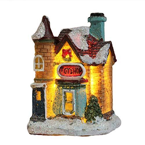 HEREB Casa de luz de Resina de Navidad LED Decoraciones navideñas Escena navideña de Resina Casa de Pueblo Ciudad