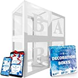 Transparent Balloon Boxes With 27 Letters - Baby Shower Decorations For Baby Boy Or Girl - 1st Birthday, Bridal Shower, Gender Reveal Party Decoration Balloon Box - Reusable Favors In Giftbox