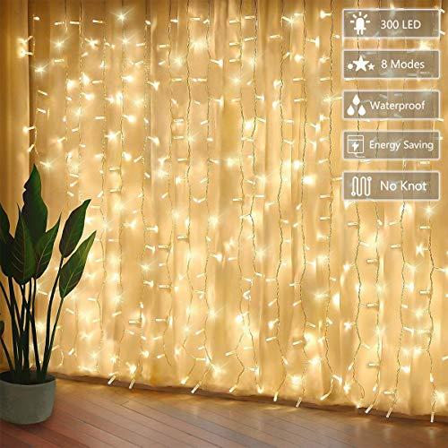 JOLVVN LED Lichtervorhang 3x3m,300 LED Innen Lichterkette Vorhang,IP44 wasserdicht 8 Modi Lichterketten für Partydekoration spezialle Deko Beleuchtung schlafzimmer Party Hochzeit