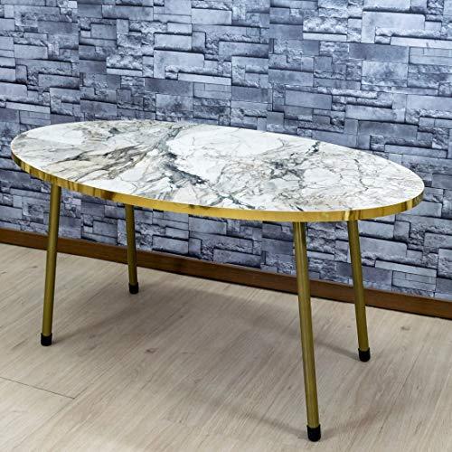 Derin Couchtisch | Marmor Optik | Weiß | Grau | Luxus Design | Gold | Marmor Salontisch | Sofatische Oval | Wohnzimmertisch | Gold | Luxus Couchtisch | 90 x 50 x 42 cm