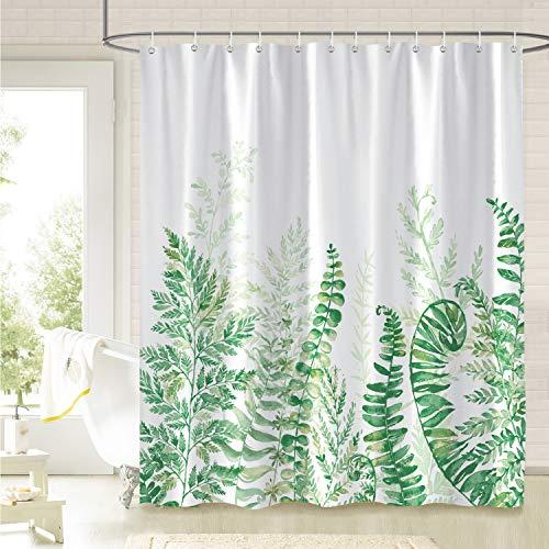 Bonhause Duschvorhang 180 x 180 cm Blätter Grüne Farn Pflanze Duschvorhänge Anti-Schimmel Wasserdicht Polyester Stoff Waschbar Bad Vorhang für Badzimmer mit 12 Duschvorhangringen