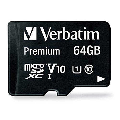 Verbatim Premium microSDHC Speicherkarte - 64 GB - inkl. Adapter, Class 10, bis zu 90 MB/s Lesegeschwindigkeit