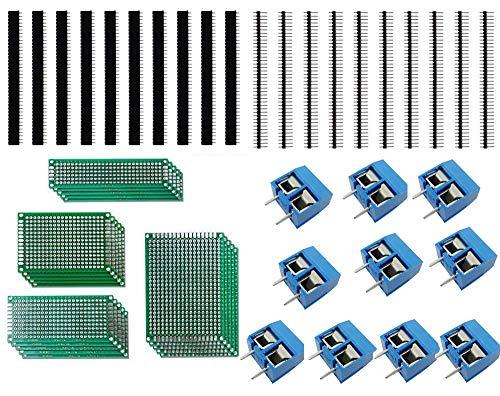 Aihasd 50Stk Doppelseitig Lochrasterplatte Kit 5x7 4x6 3x7 2x8CM Double Side Lochrasterplatine Leiterplatte Platine PCB Universal Board Con 10x PCB Schraubklemmenblock10x Stecker 10x Buchsenleiste