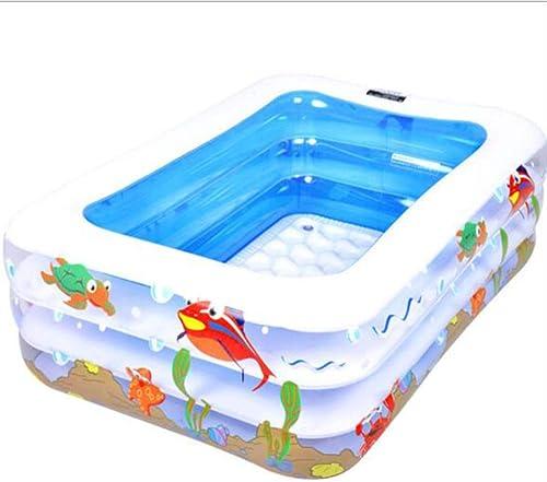 ZHKGANG Piscine Gonflable pour Enfants Accueil Piscine Gonflable pour Enfants Grande Piscine Extérieure Boule épaissie Rectangulaire pour Enfants,bleu-140  100  45cm