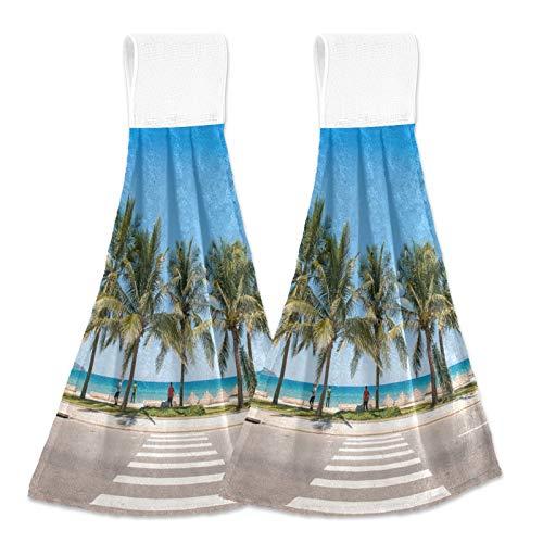 Oarencol Palm Tree Tropical Beach Ocean Acera Toalla de mano de cocina absorbente para colgar toallas con lazo para baño, 2 unidades