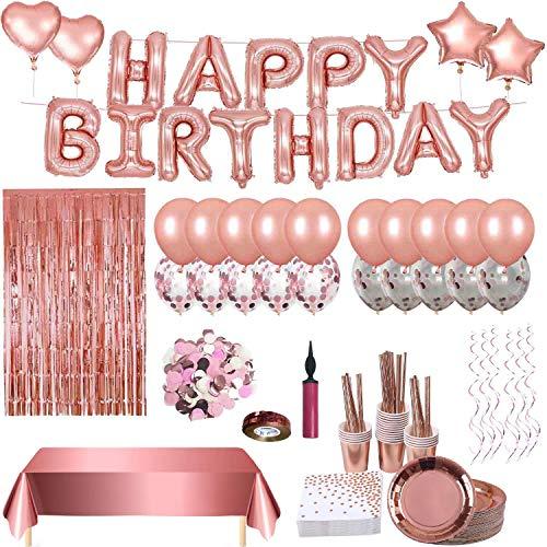 Geburtstagsdeko Rosegold,Happy Birthday Girlande, Tischdecke Glitzer Vorhang Konfetti, Rosegold Partygeschirr Set, Pappteller Servietten Partybecher Papier Strohhalme