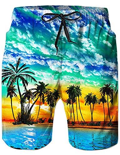 Loveternal Costume Uomo Mare Quick Dry Sportivi 3D Stampa Hawaiano Costumi Uomo Colorati Estate Pantaloncini Uomo con Tasche S