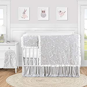 Sweet Jojo Designs Grey Floral Vintage Lace Baby Girl Nursery Crib Bedding Set – 5 Pieces – Solid Light Gray Crinkle Crushed Velvet Luxurious Elegant Princess Boho Shabby Chic Luxury Flower Ruffle