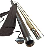Headwaters Bamboo Bamboo Fly Rod | Deluxe Series 2-Piece with Extra Tip | Classic Bamboo Fly Fishing Rod Handplaned of Tonkin Bamboo Using Six-Strip Construction | Choose from Six Sizes