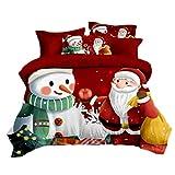 Rvest - Set di biancheria da letto natalizia, 3 pezzi, lavabile, comodo copripiumino, copriletto, copertina, Babbo Natale, cervo, regalo per bambini