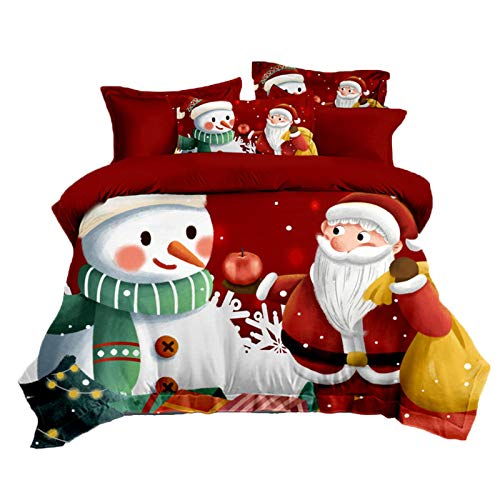 Christmas Kids Xmas Uilt Duvet Cover And Pillowcase Bedding Bed Set Washable Comfortable Bedding Duvet Encasement