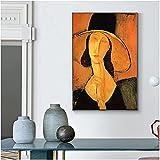 RLJHG Cuadros Decoracion Famosa Dama Elegante con un Sombrero Pintura sobre Lienzo Poster de Arte de Pared de Mujeres abstractas y Decoracion de pricture50x70cm x1 Sin Marco