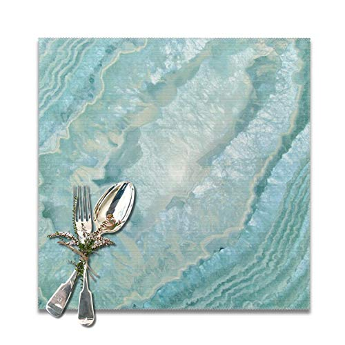 Becmd Aquamarine Pastel and Teal Agate Crystal Placemats for Dining Table,Washable Placemat Set of 6, 12x12 inch