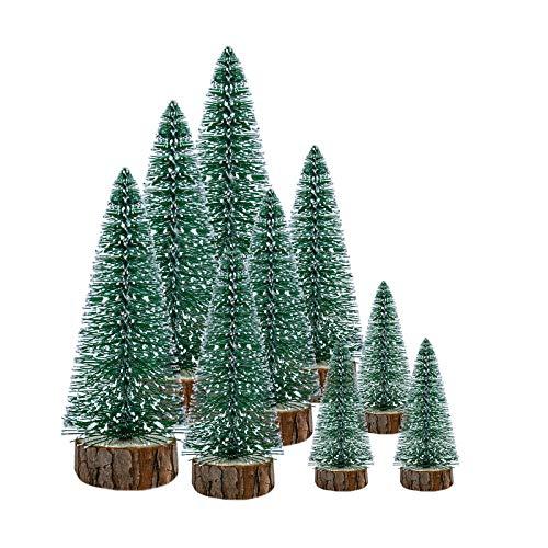 KATELUO 9 Pezzi Mini Alberi di Natale Artificiali,Miniatura Albero di Natale,Mini Alberi di Natale con Basi Legno per Decorazioni Natale/Tavolo/Stanza,DIY,Modello Micro Landscape,Regali (3 Taglia)